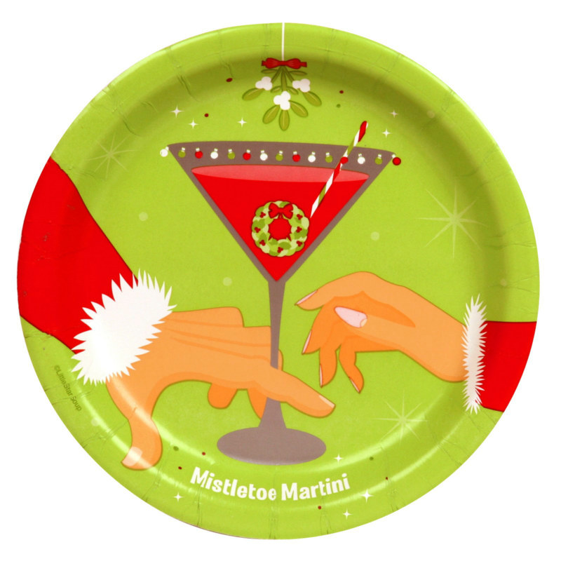 Christmas Drinks Mistletoe Martini Dessert Plates (18 count)