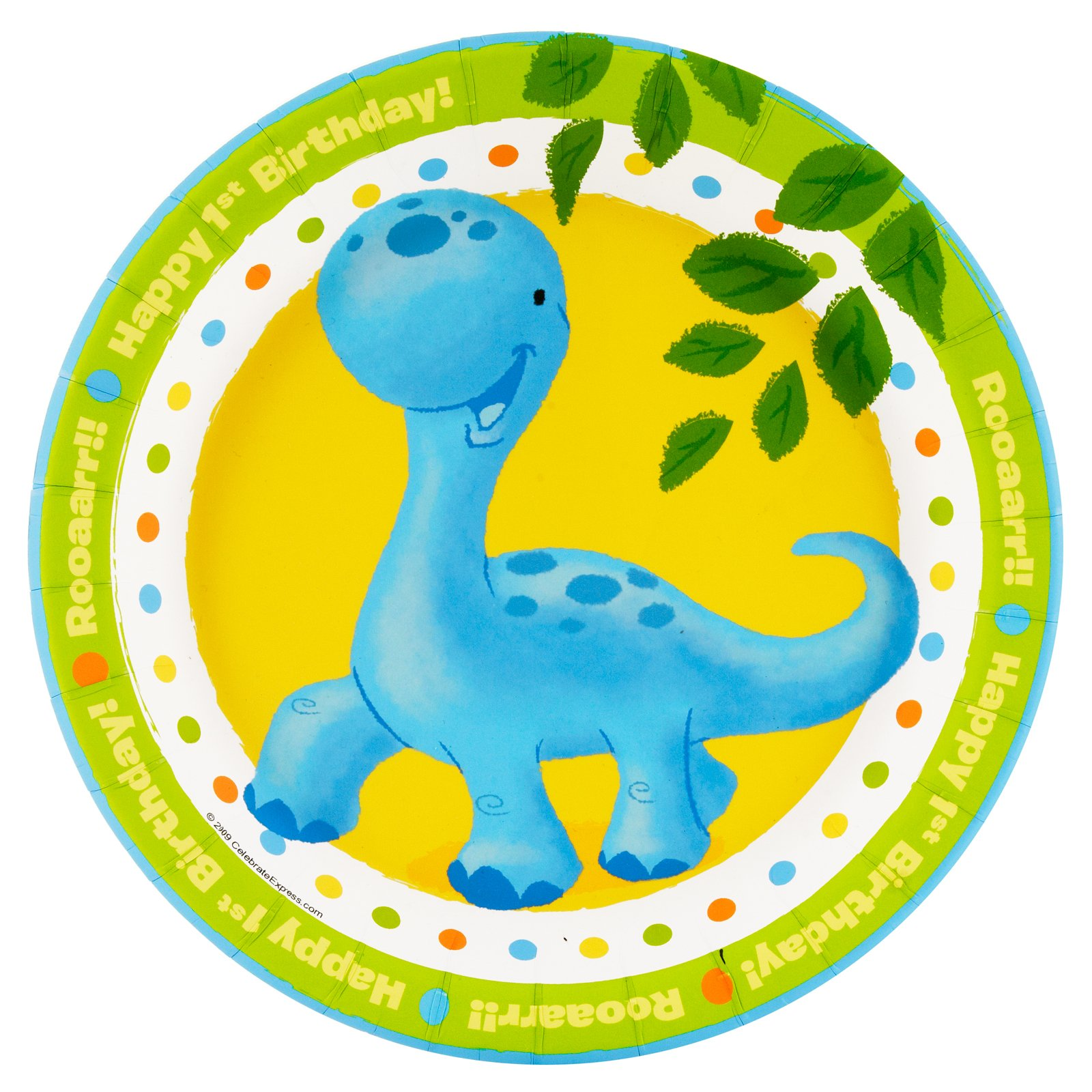 Little Dino 1st Birthday Dessert Plates (8 count)