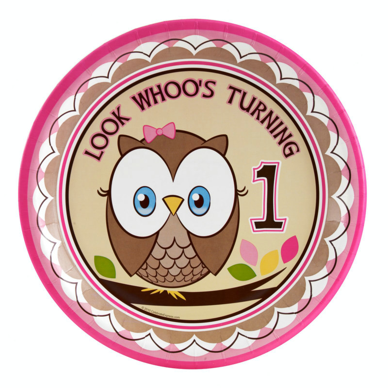Look Whoo's 1 - Pink Dinner Plates (8 count) - Click Image to Close