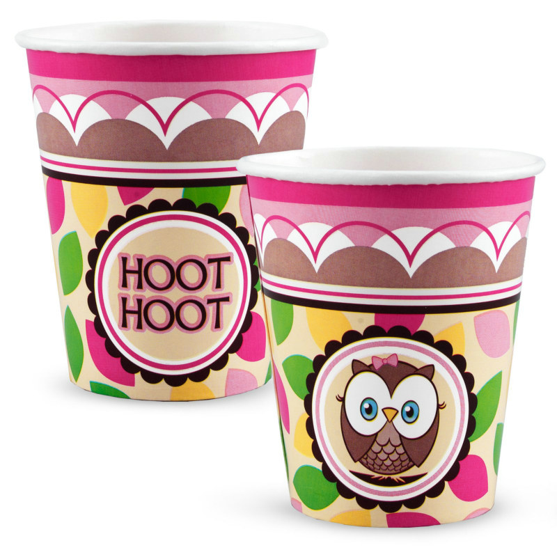 Look Whoo's 1 - Pink 9 oz. Paper Cups (8 count)