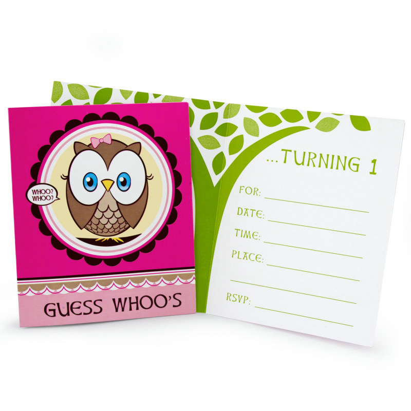 Look Whoo's 1 - Pink Invitations (8 count)