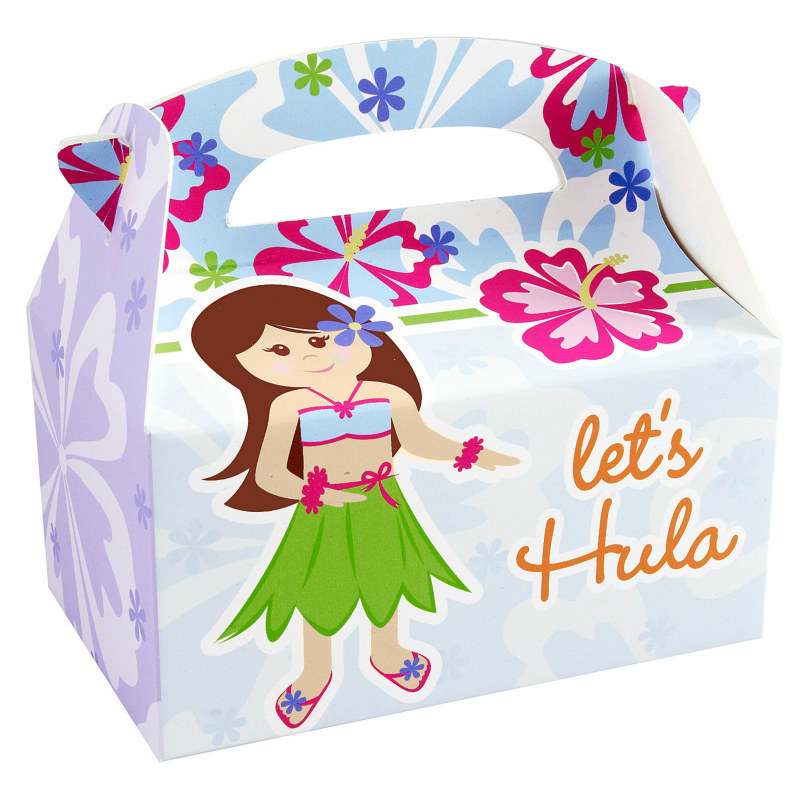Hawaiian Girl Empty Favor Boxes (4 count)