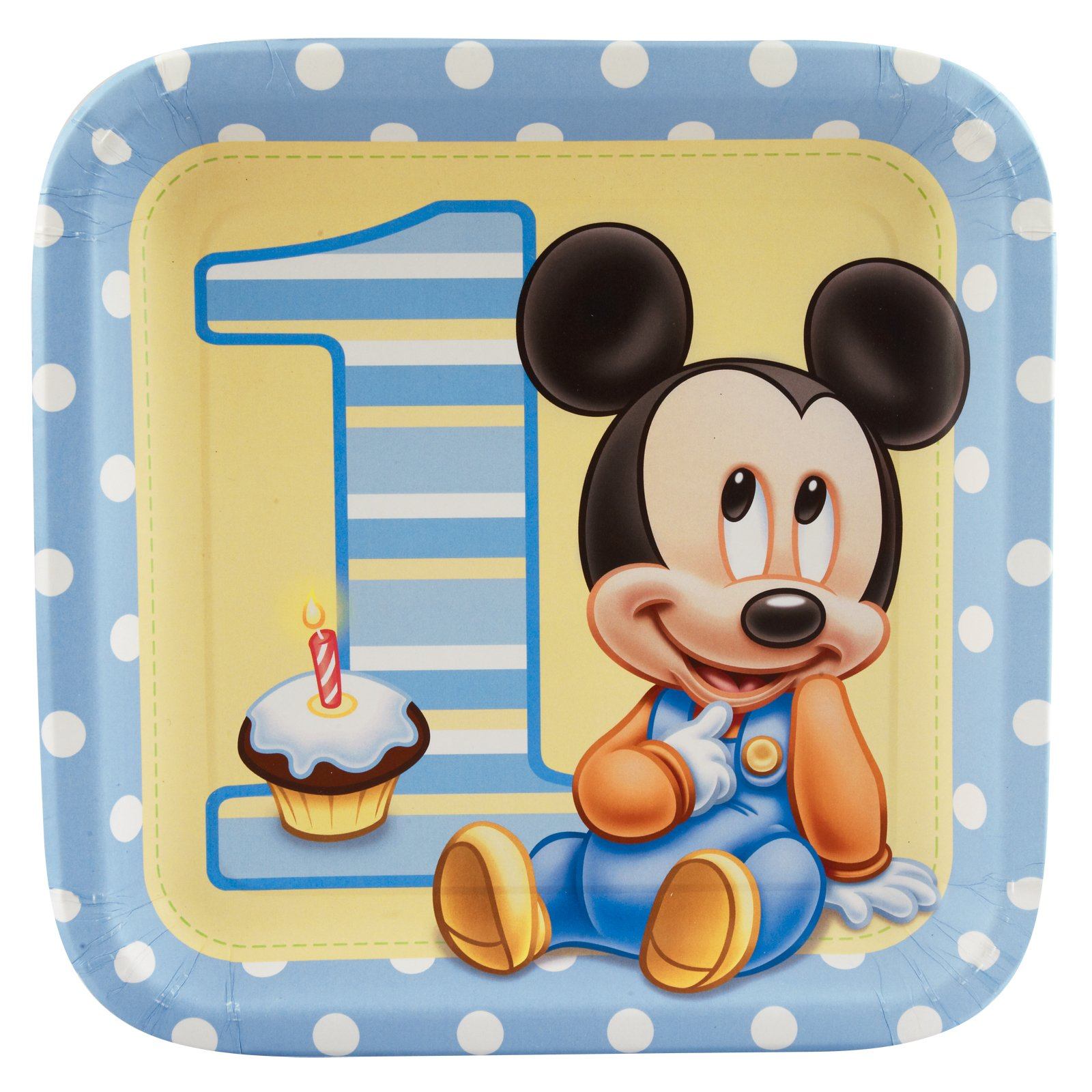 Mickey's 1st Birthday Dinner Plates (8 count)