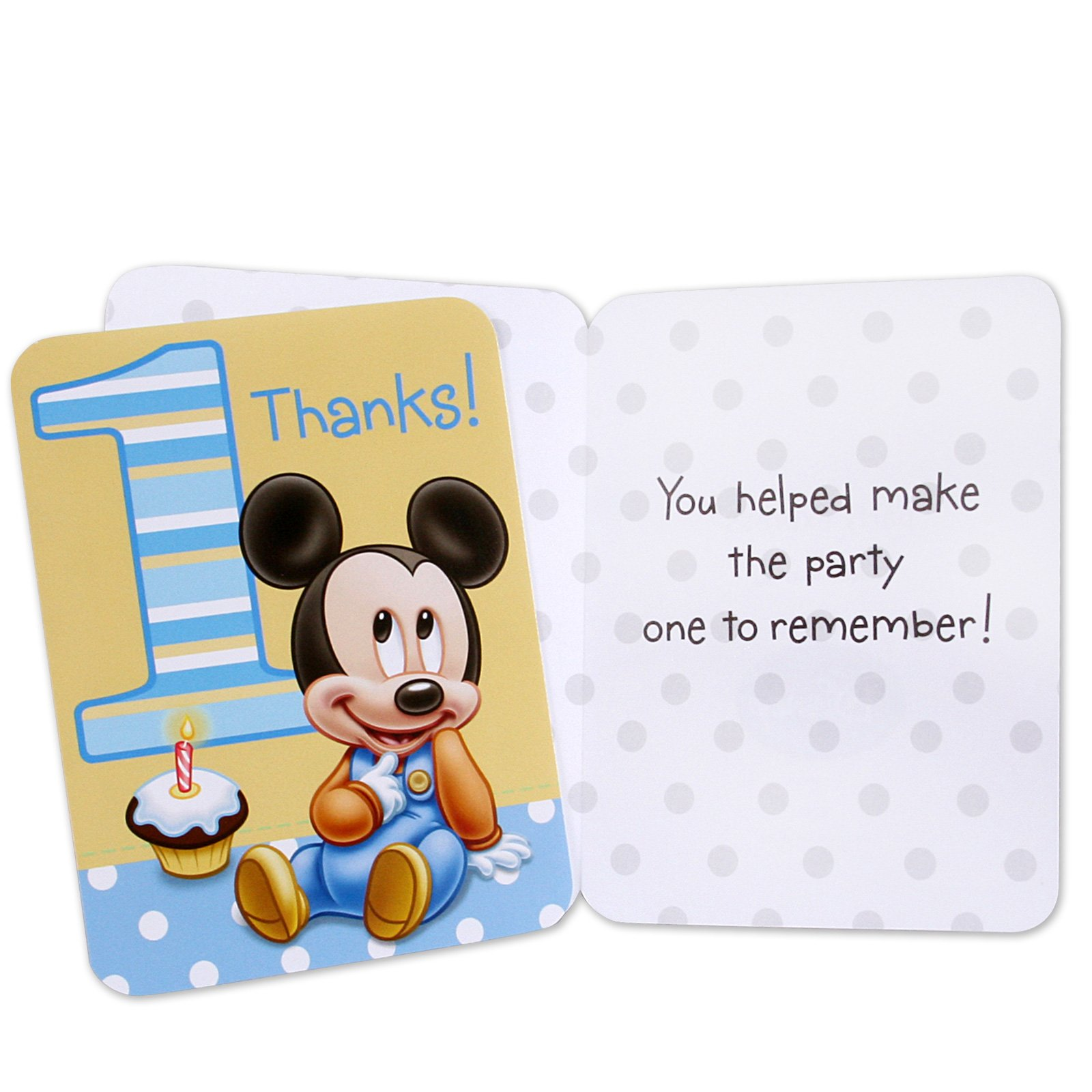Mickey's 1st Birthday Thank-You Notes (8 count)