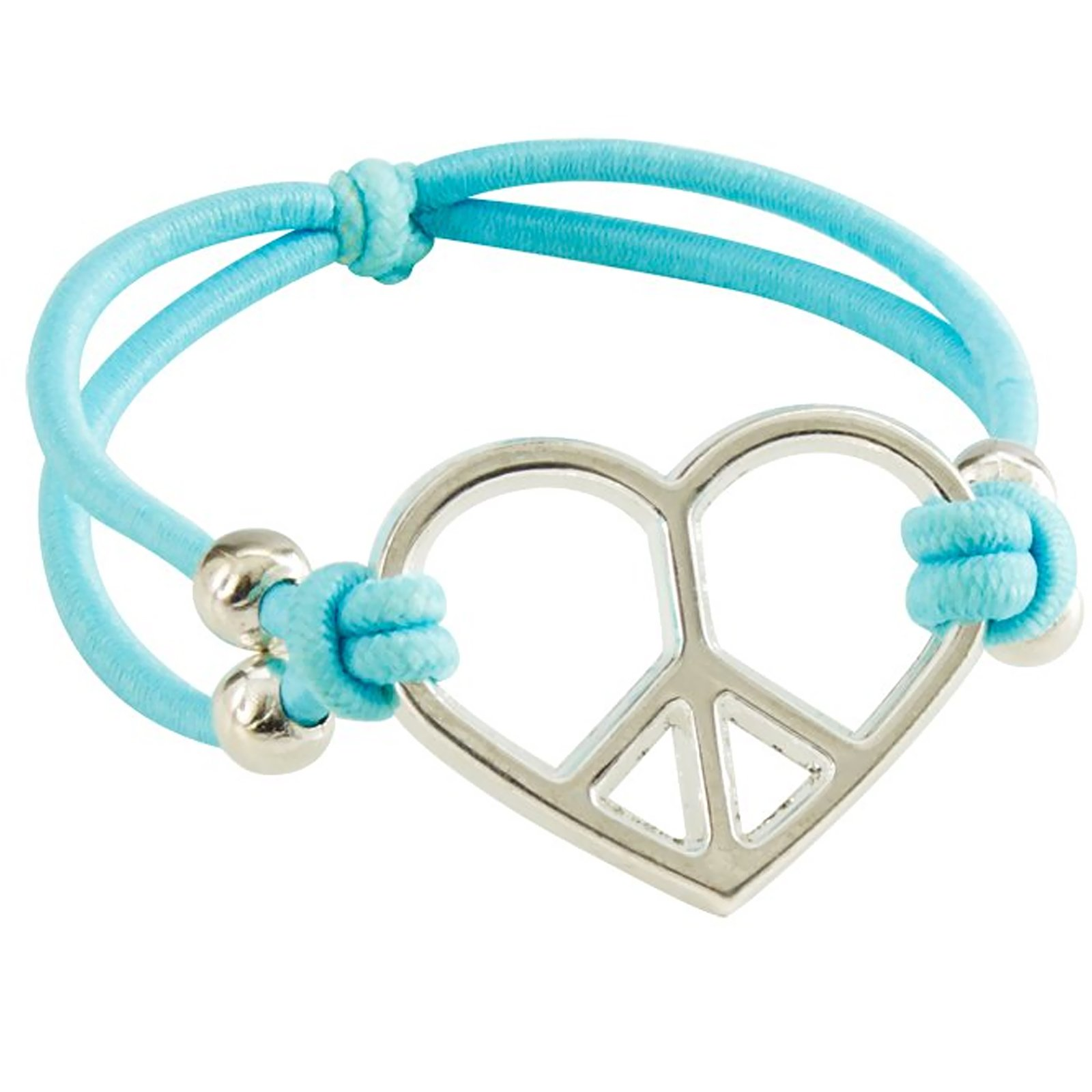 "7"" Heart-Shaped Peace Bracelet Asst. (1 count)"