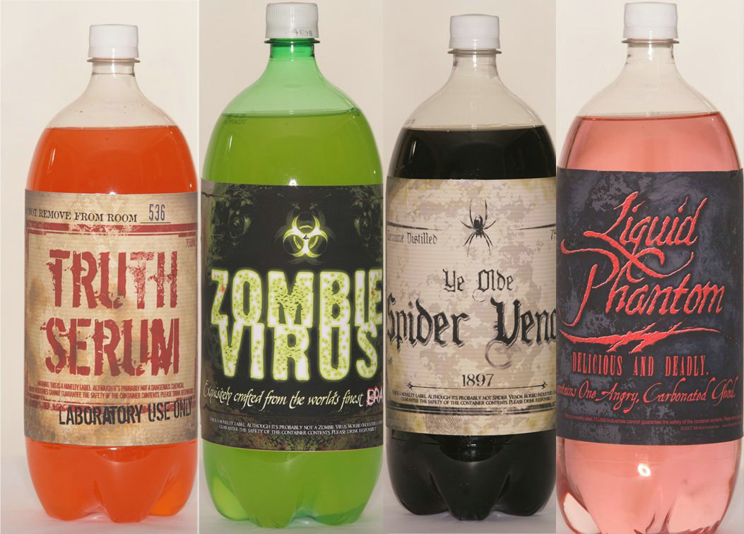 Halloween Soda Bottle Stickers (4 count)
