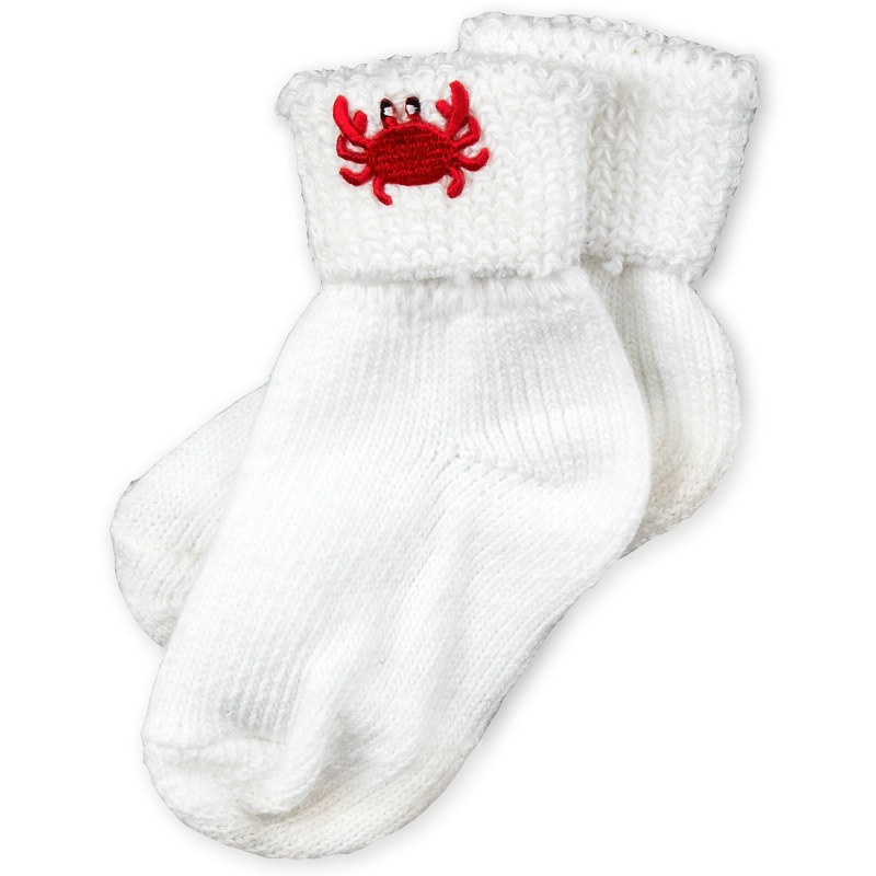 White Cotton Socks with Crab Applique (9-18 Months)