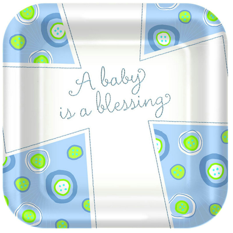 Blessed Baby Boy Square Dessert Plates (8 count)