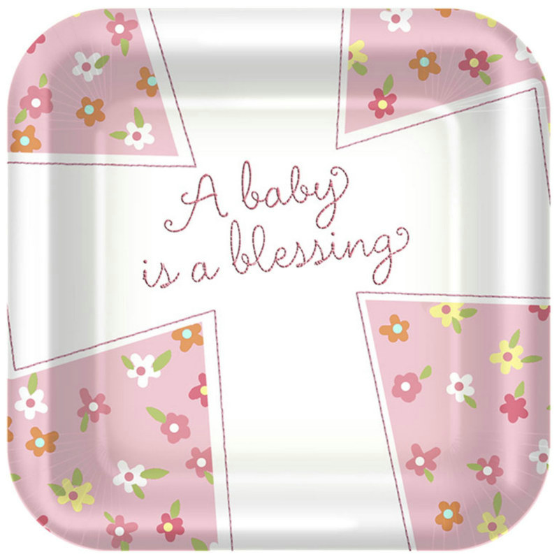 Blessed Baby Girl Square Dessert Plates (8 count)