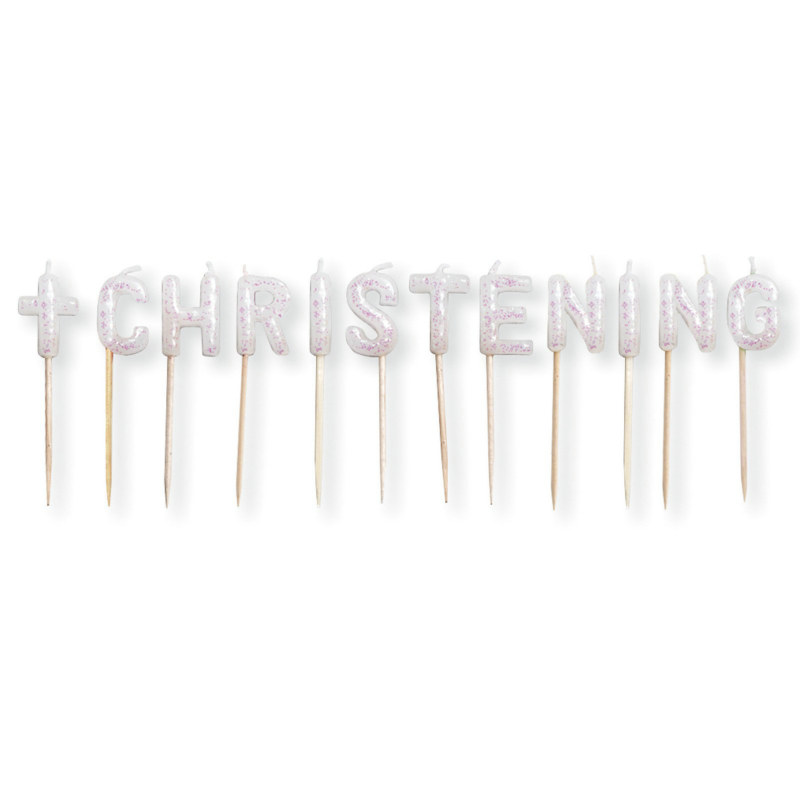 Christening Glitter Pick Candles (12 count)