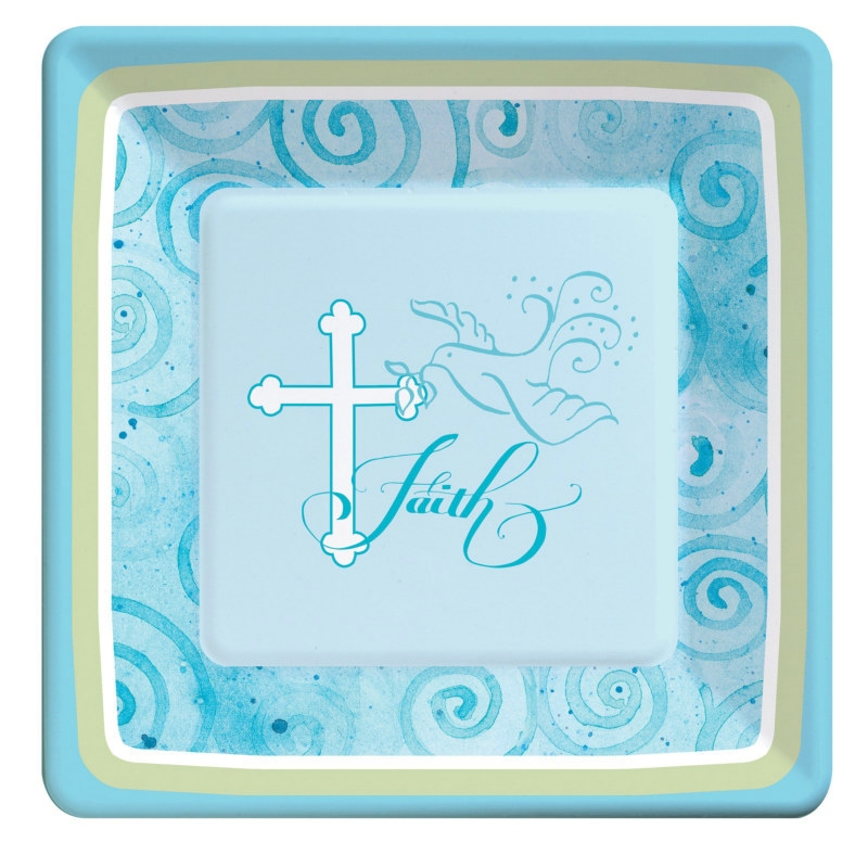 Faithful Dove Blue Square Dessert Plates (8 count)