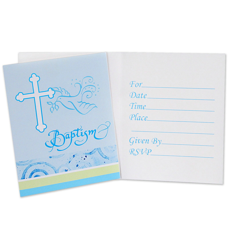 Faithful Dove Blue Baptism Invitations (8 count)
