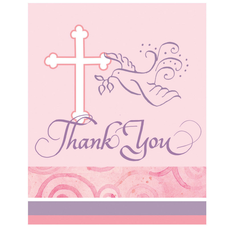Faithful Dove Pink Thank You Cards (8 count)