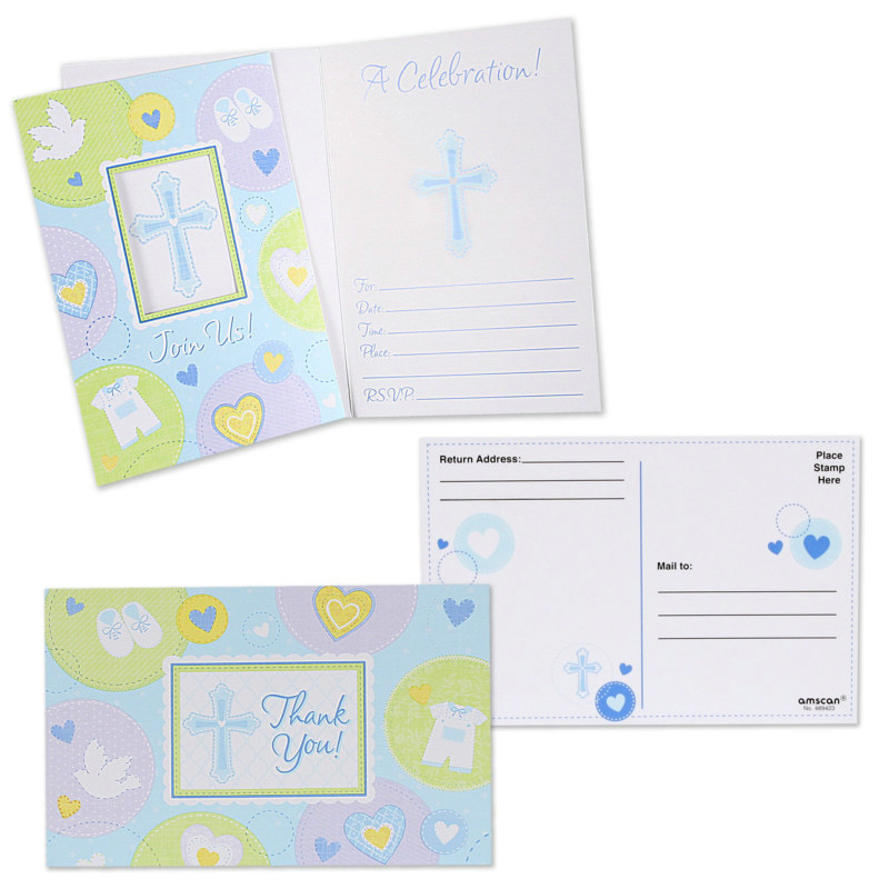 Sweet Blessing Blue Invitations (8) & Thank-You Postcards (8)