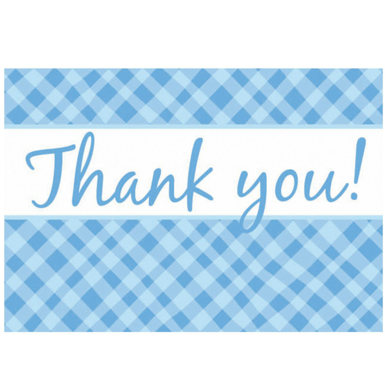 Blue Plaid Thank You Cards (8 count)