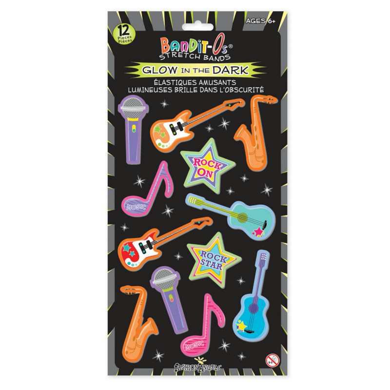 Rockband Glow in the Dark Rubber Bracelets Assorted (12 count)