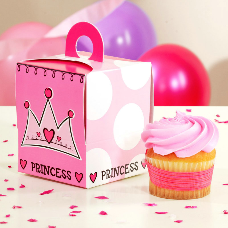 Birthday Princess Cupcake Boxes (4 count)