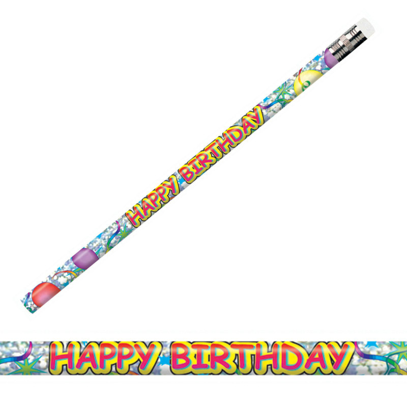 Happy Birthday Glitz Pencils (8 count)
