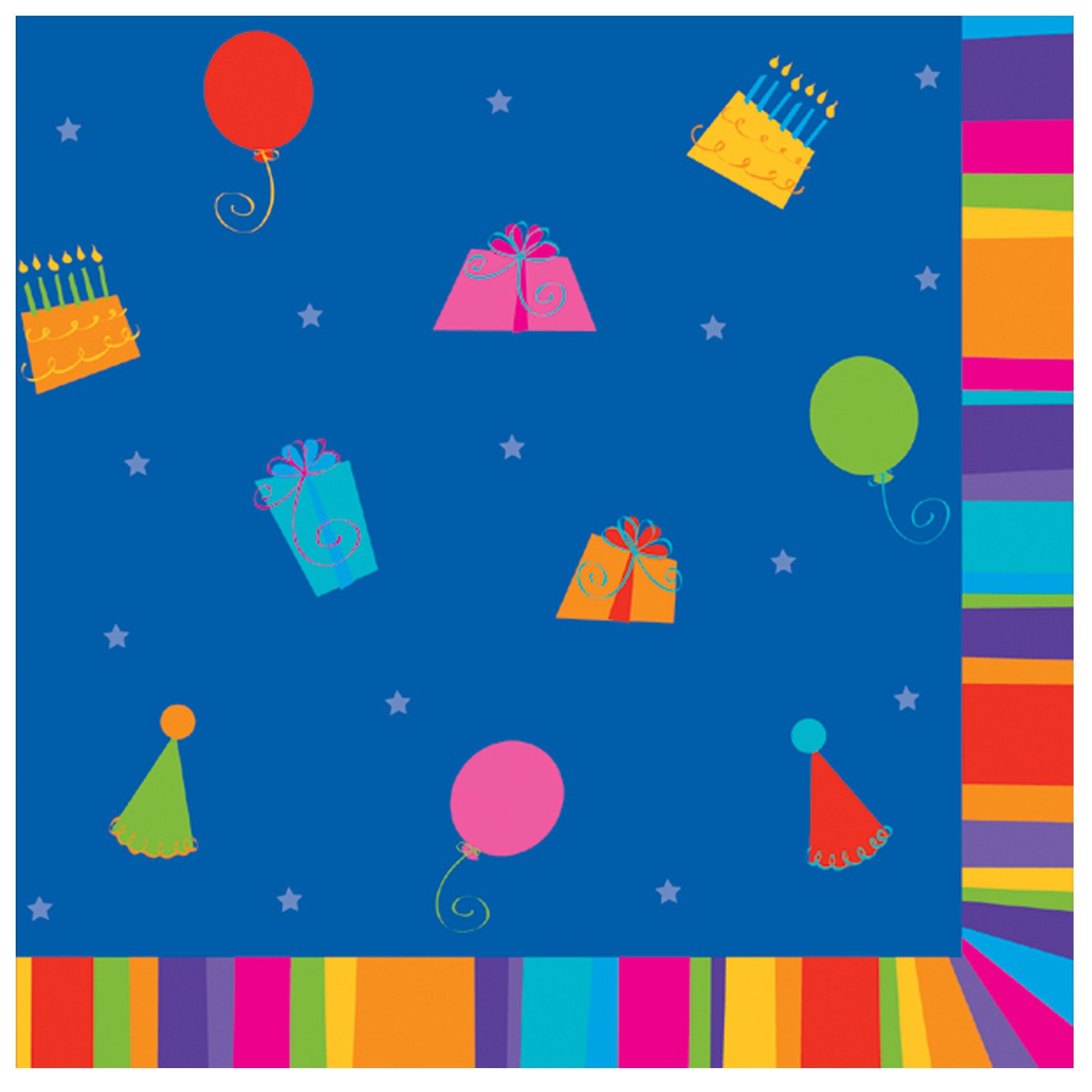 Birthday Stripes Beverage Napkins (16 count)