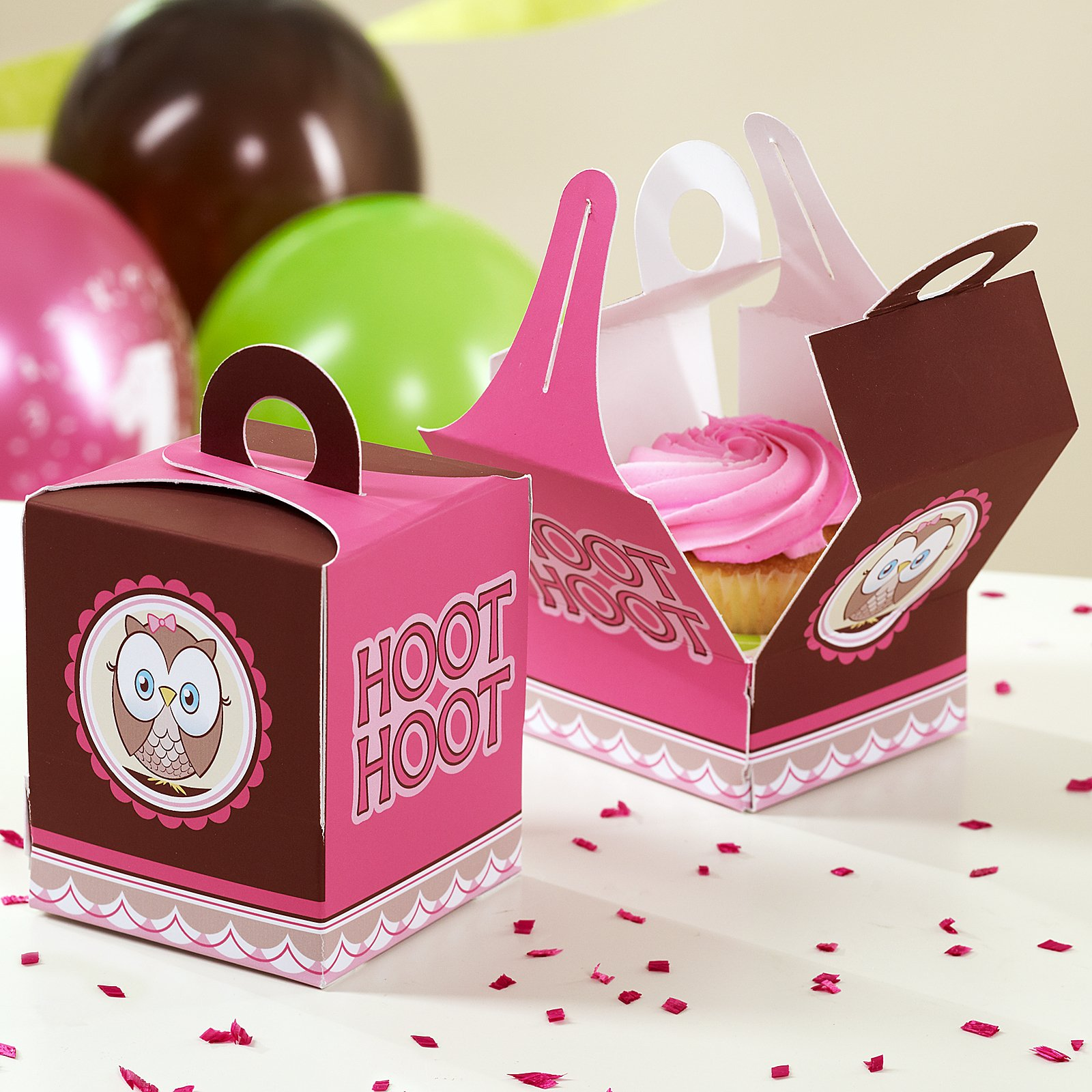 Look Whoo's 1 Pink Cupcake Boxes (4 count)