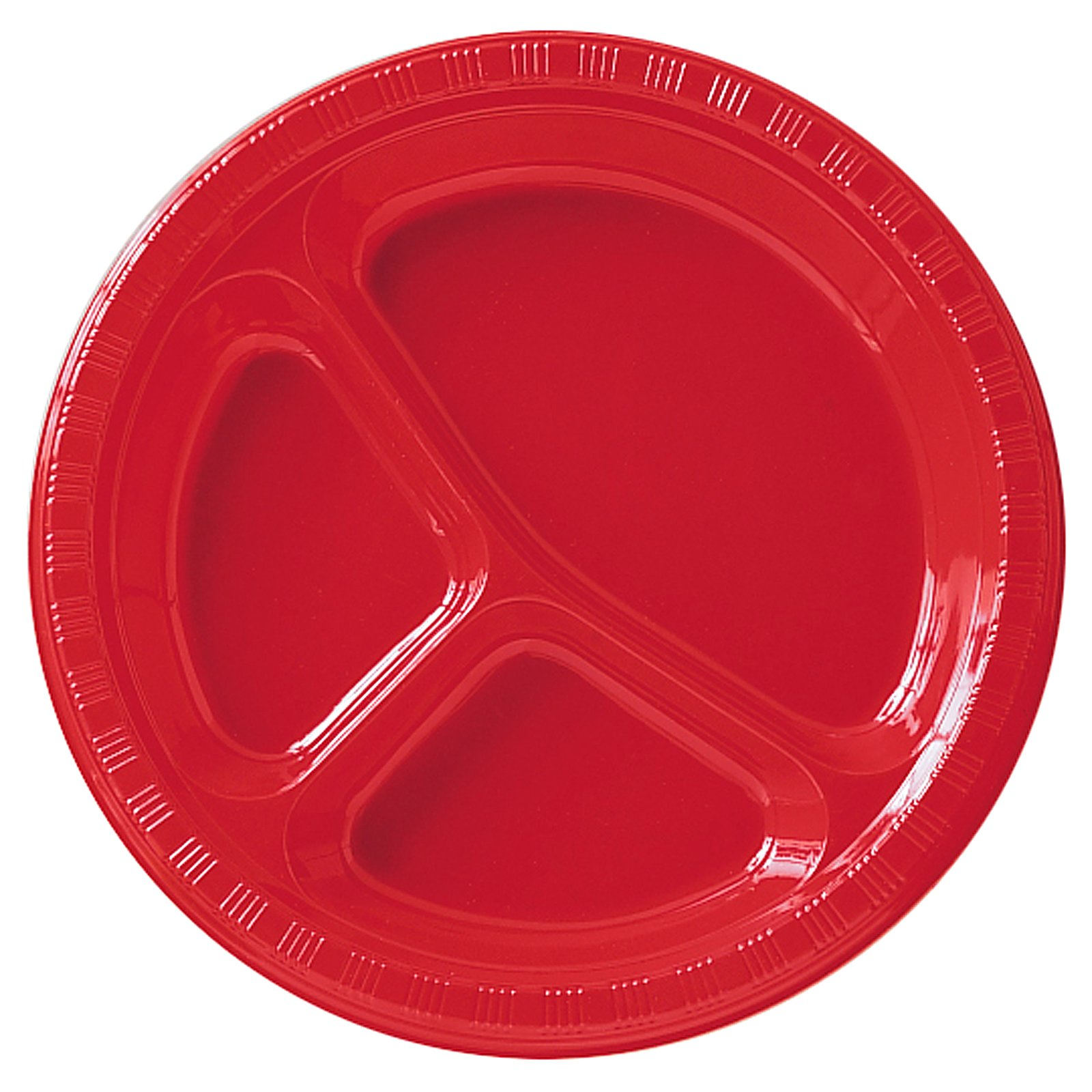Classic Red (Red) Plastic Divided Dinner Plates (20 count)