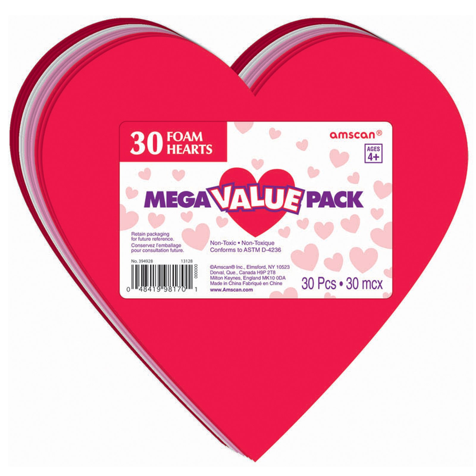 Large Foam Hearts (30 count)