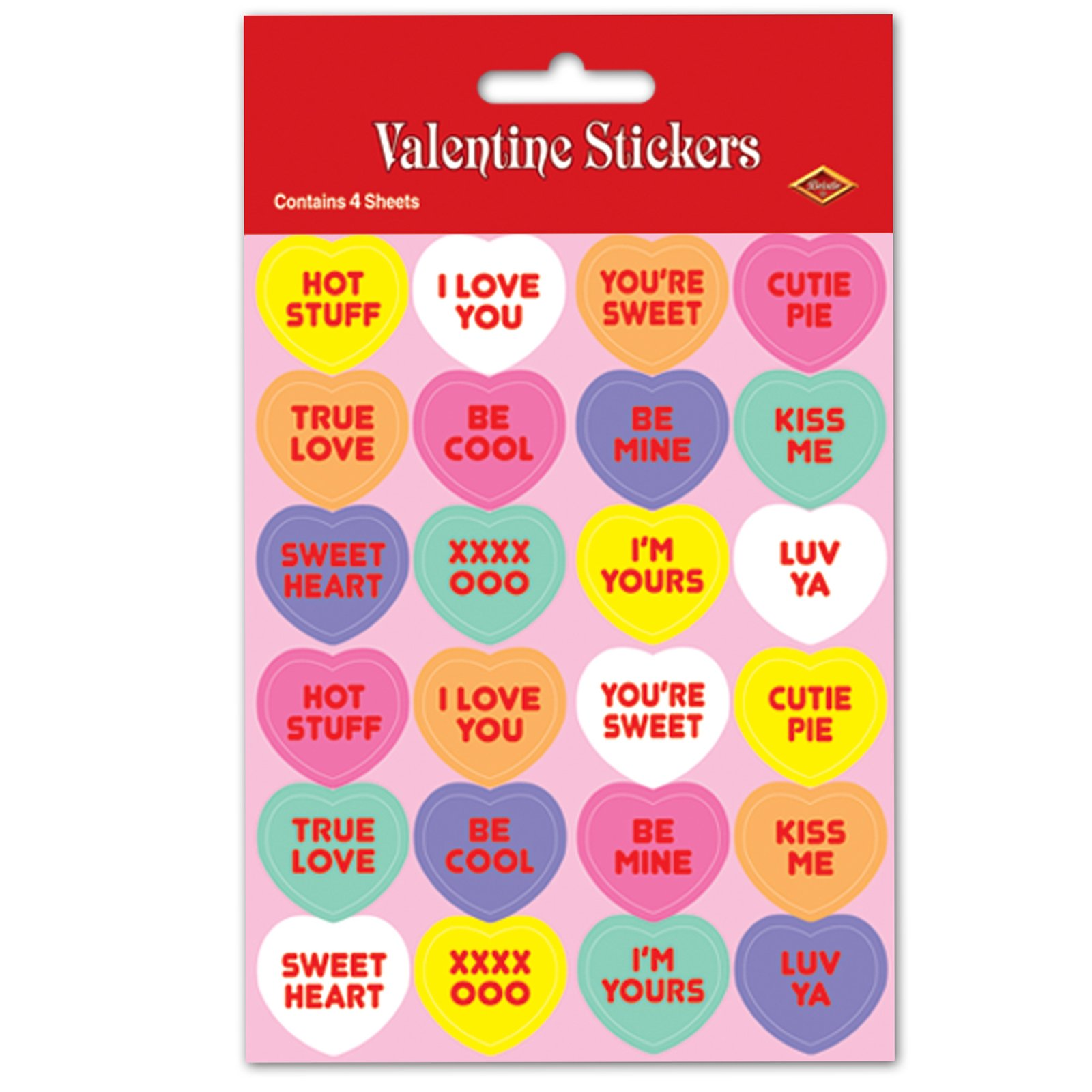Valentine Candy Heart Sticker Sheets (4 count)