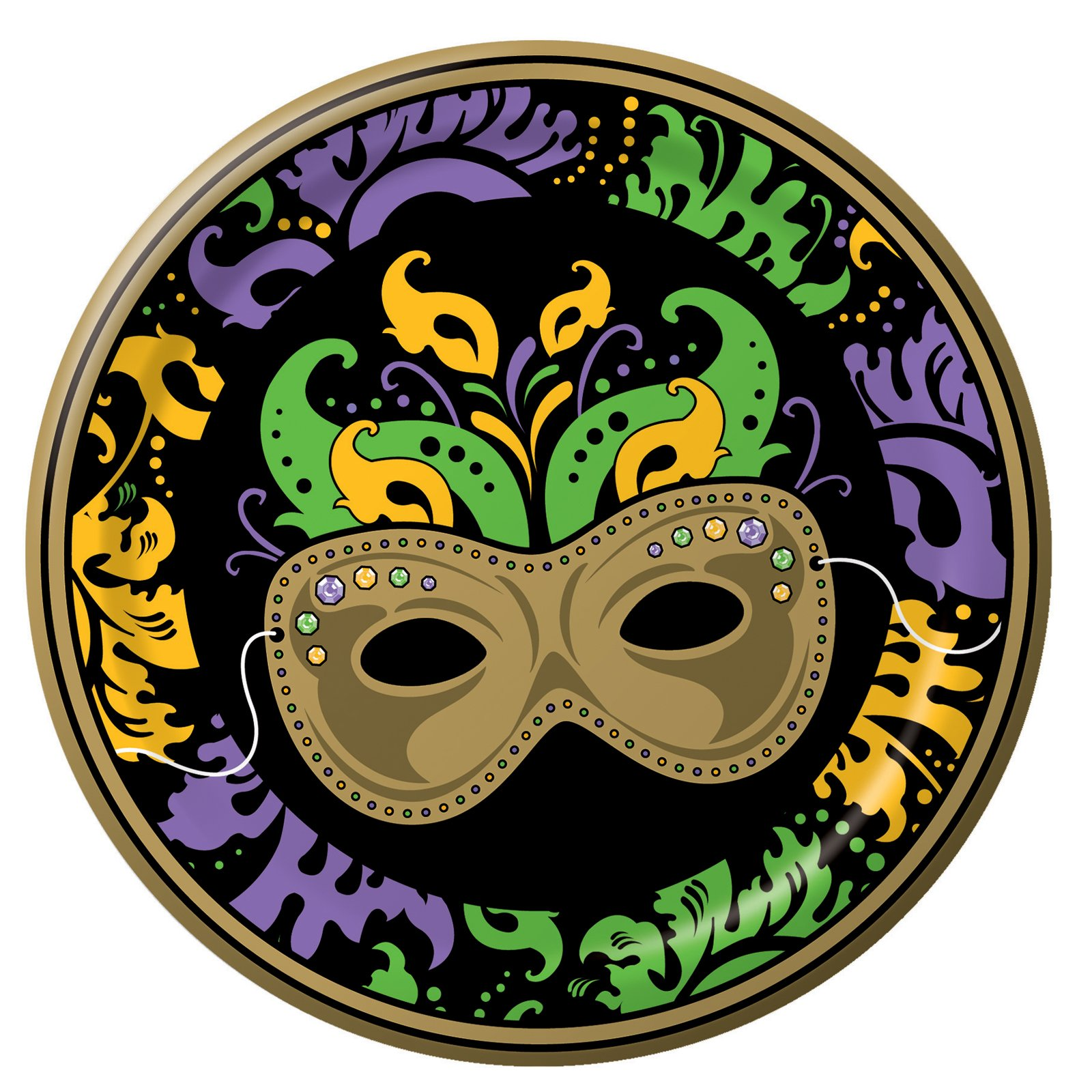 Mardi Gras Magic Dinner Plates (8 count) - Click Image to Close