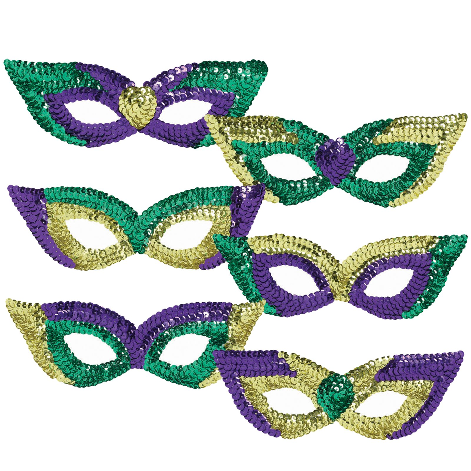 Mardi Gras Sequin Party Masks (6 count)