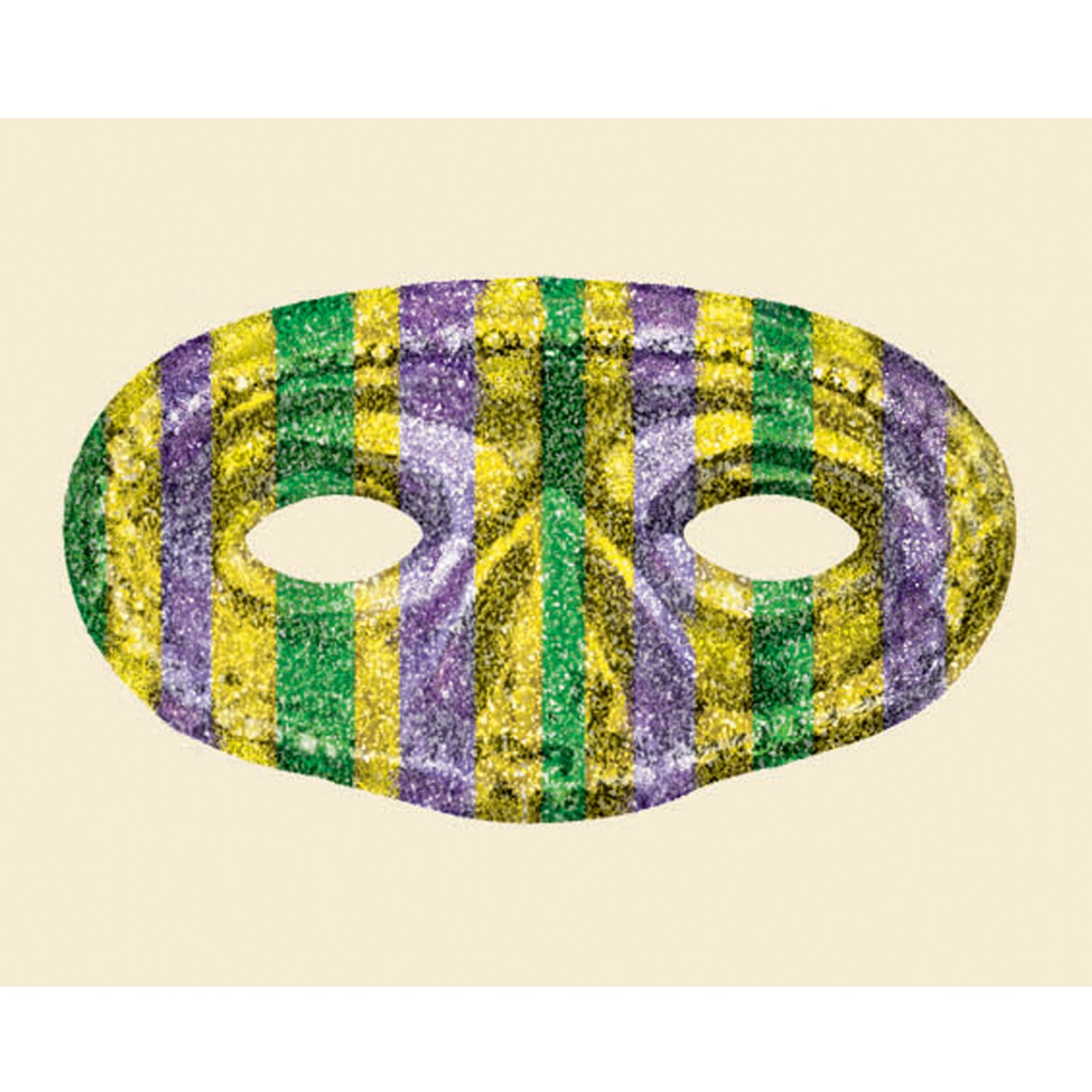 Mardi Gras Striped Glitter Mask (1 count)