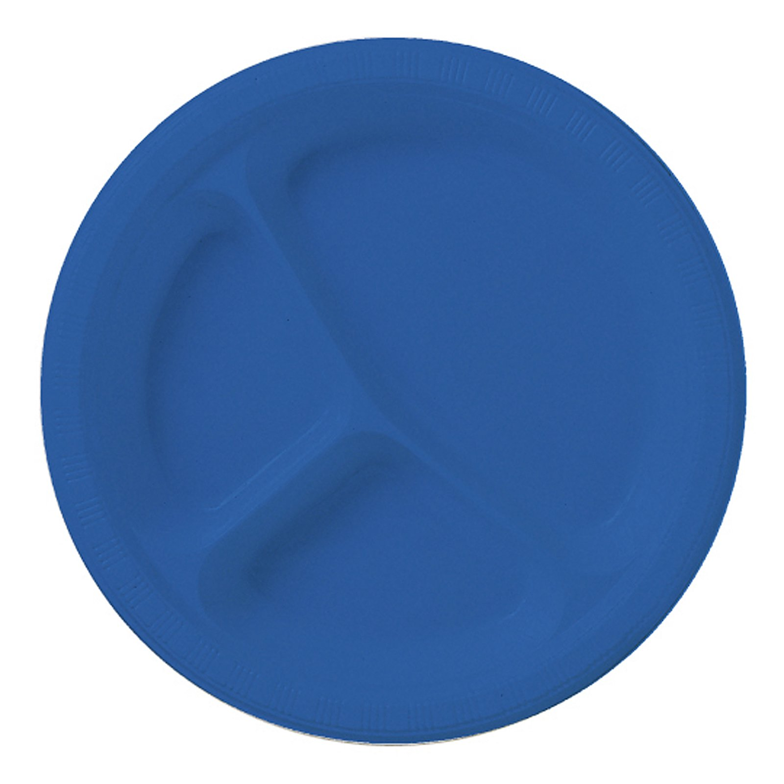True Blue (Blue) Plastic Divided Plates (20 count)