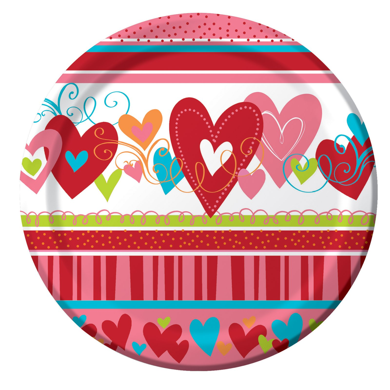 Valentine Happy Heart Swirl Dessert Plates (8 count)