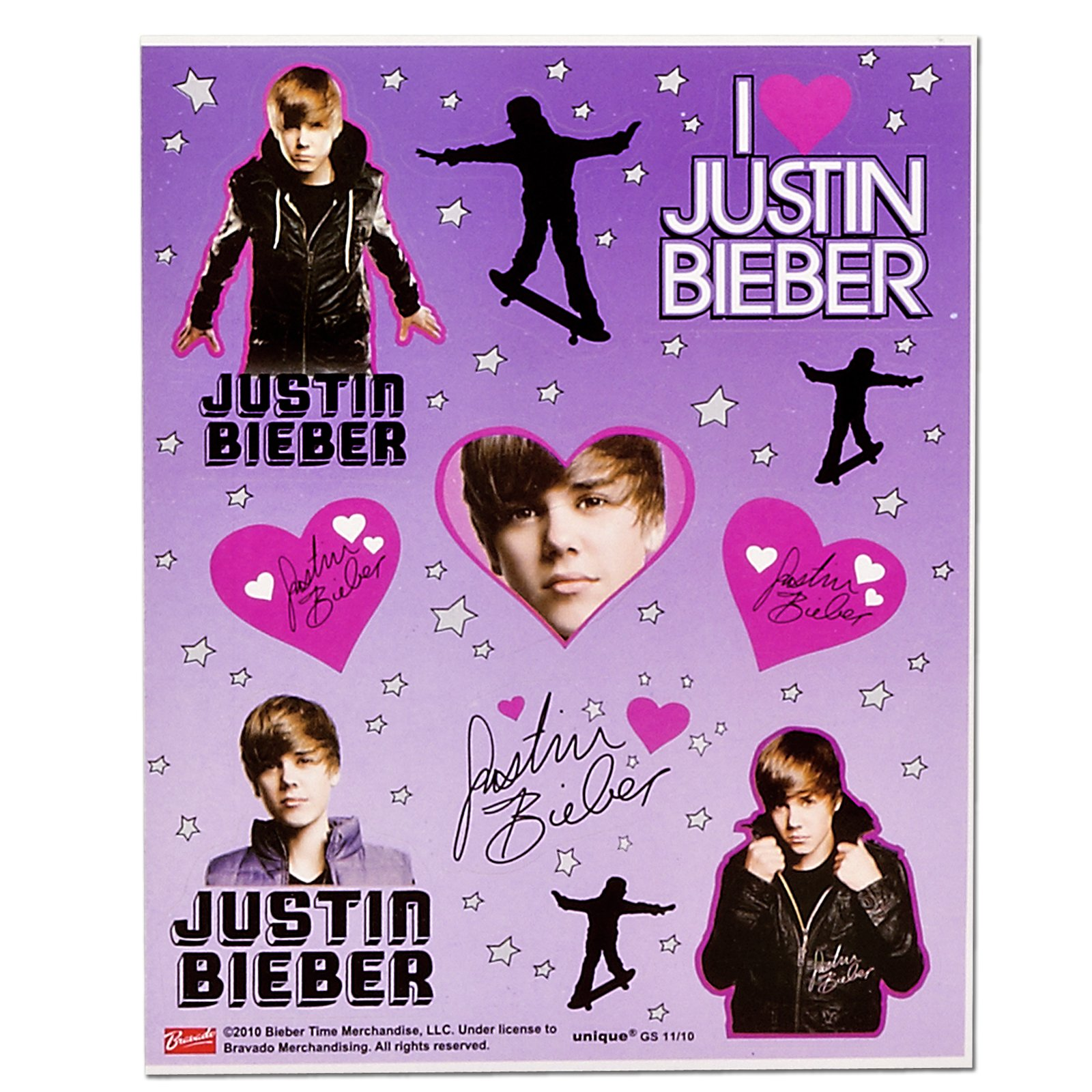 Justin Bieber Sticker Sheets (4 count)
