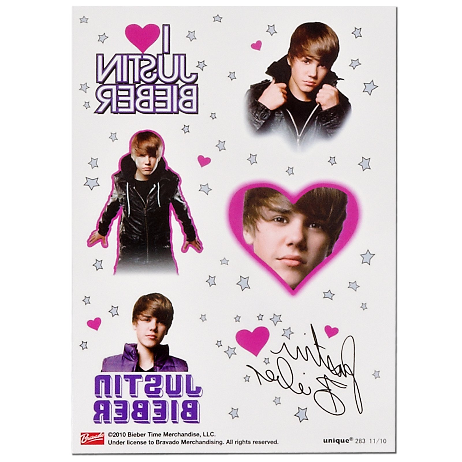 Justin Bieber Tattoo Sheets (4 count)