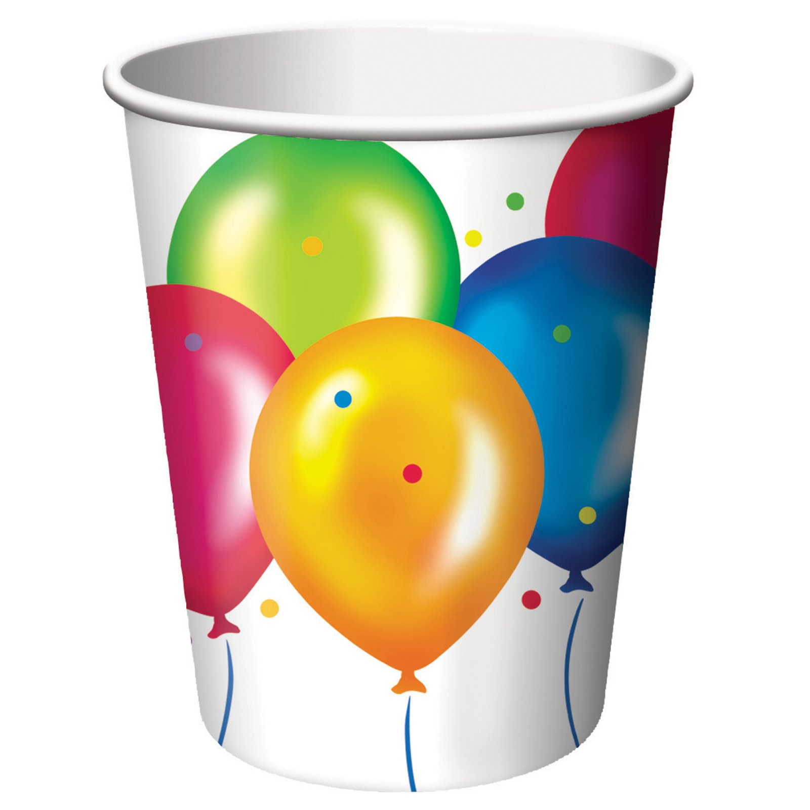 Birthday Balloons 9 oz. Paper Cups (8 count)