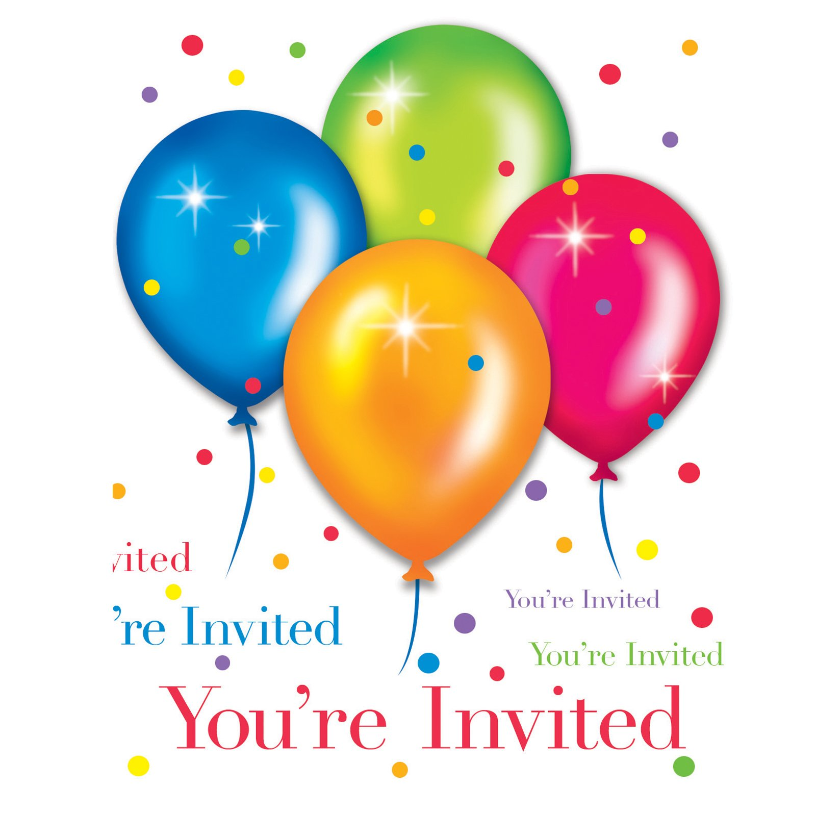 Birthday Balloons Invitations (25 count)