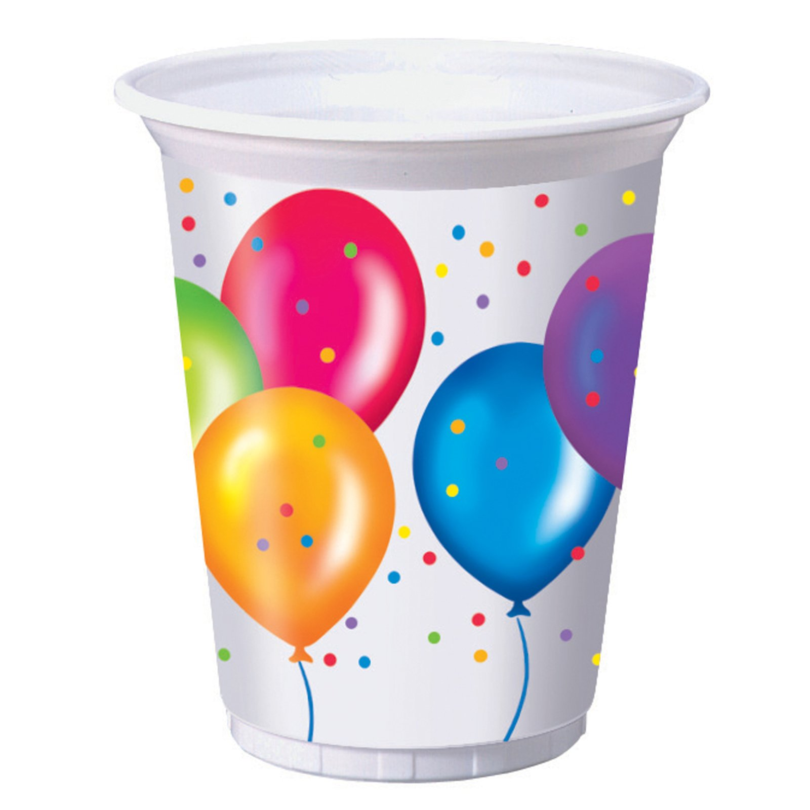 Birthday Balloons 16 oz. Plastic Cups (8 count)
