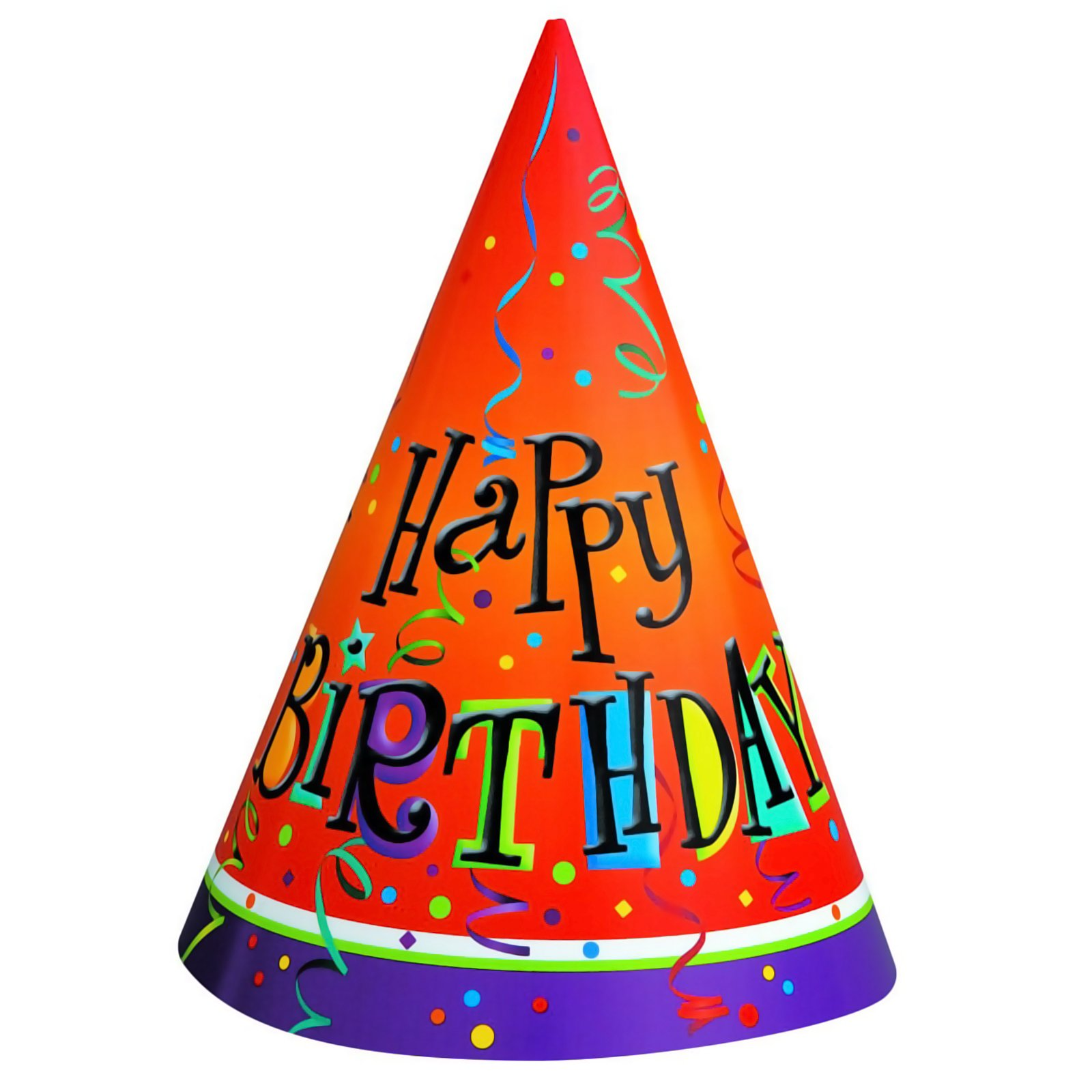 Lively Birthday Cone Hats (8 count)