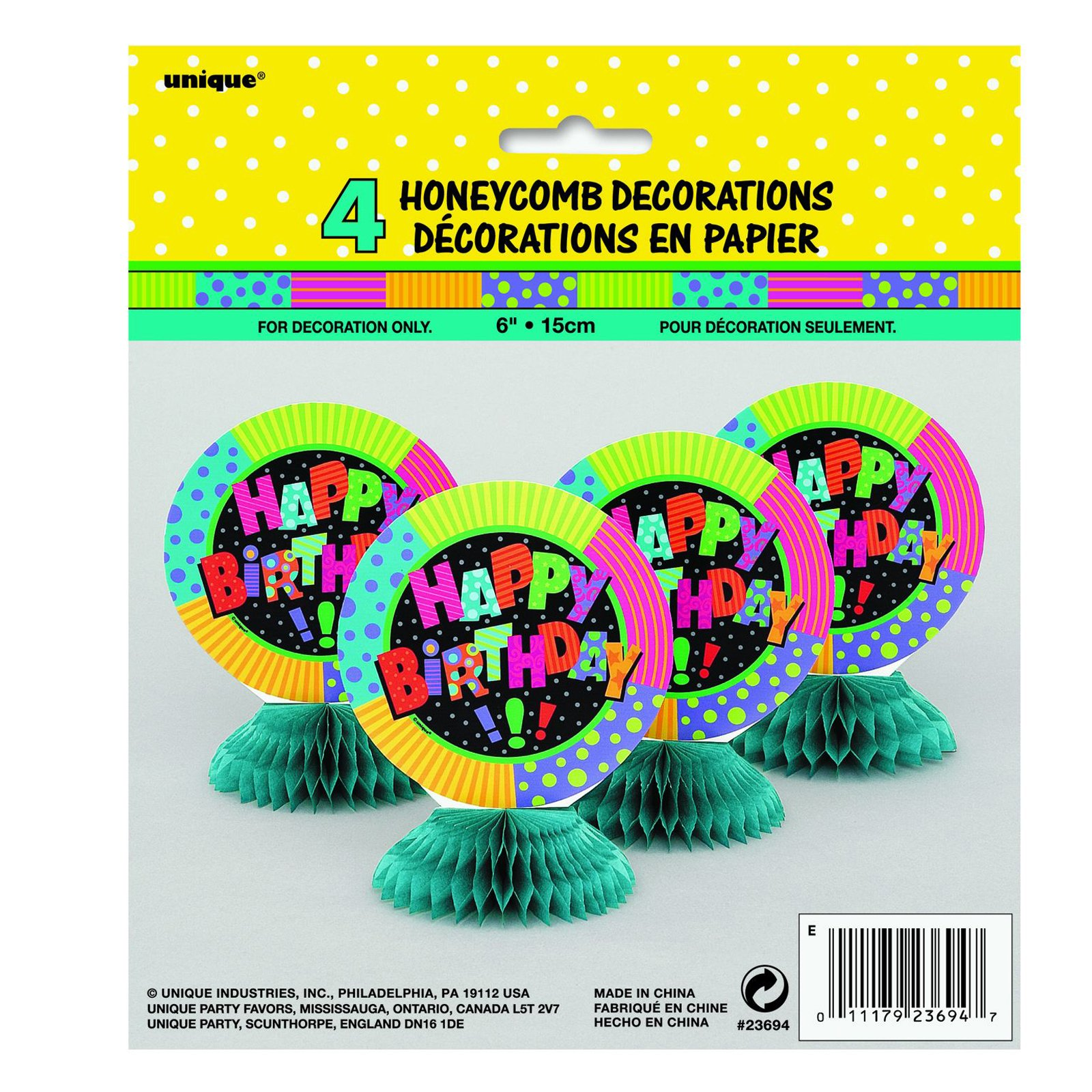Infinite Birthday Honeycomb Decorations (4 count)