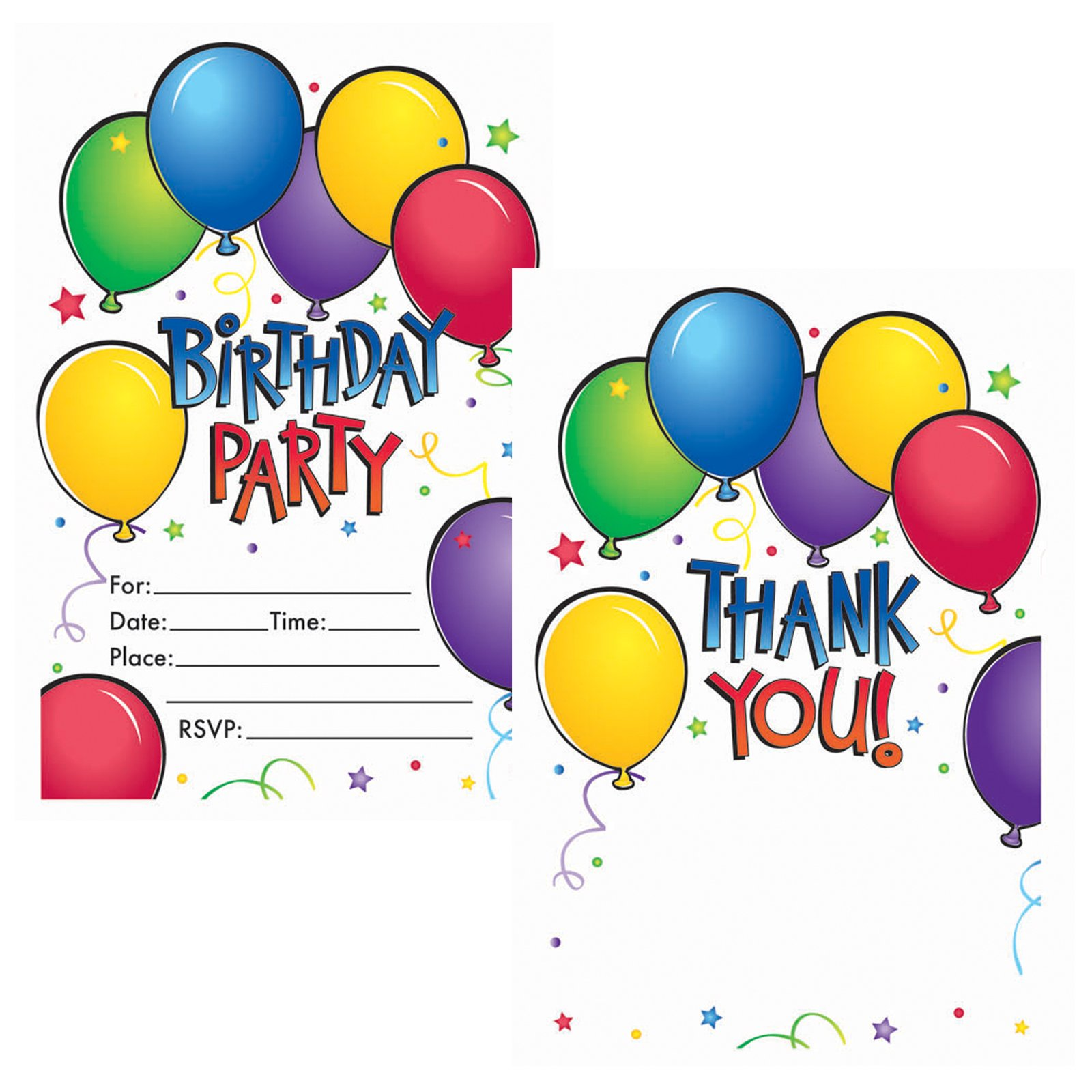 Balloon Fun Invitations and Thank You Postcards (50 count)