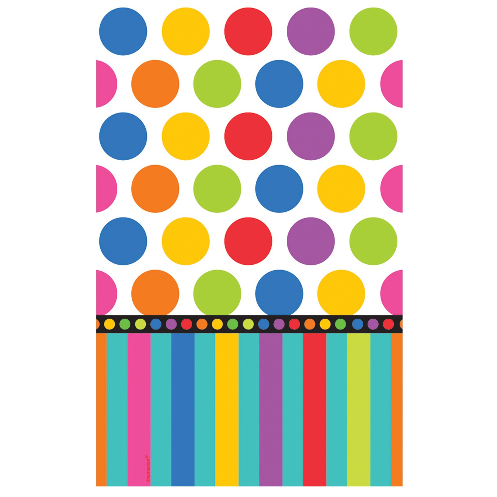 Dots and Stripes Birthday Plastic Tablecover