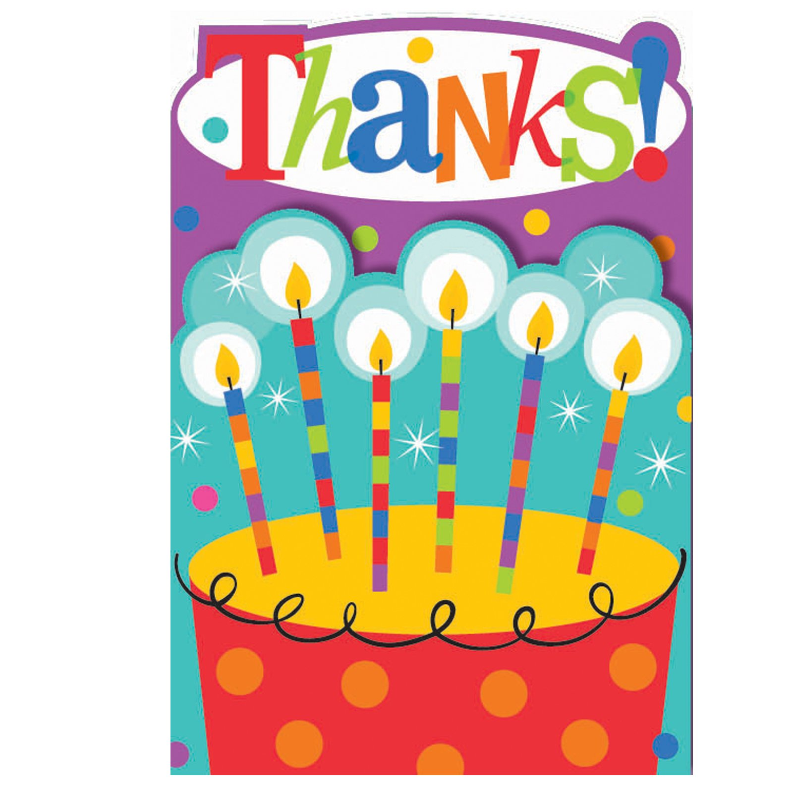 Dots and Stripes Birthday Thank You Cards (8 count)