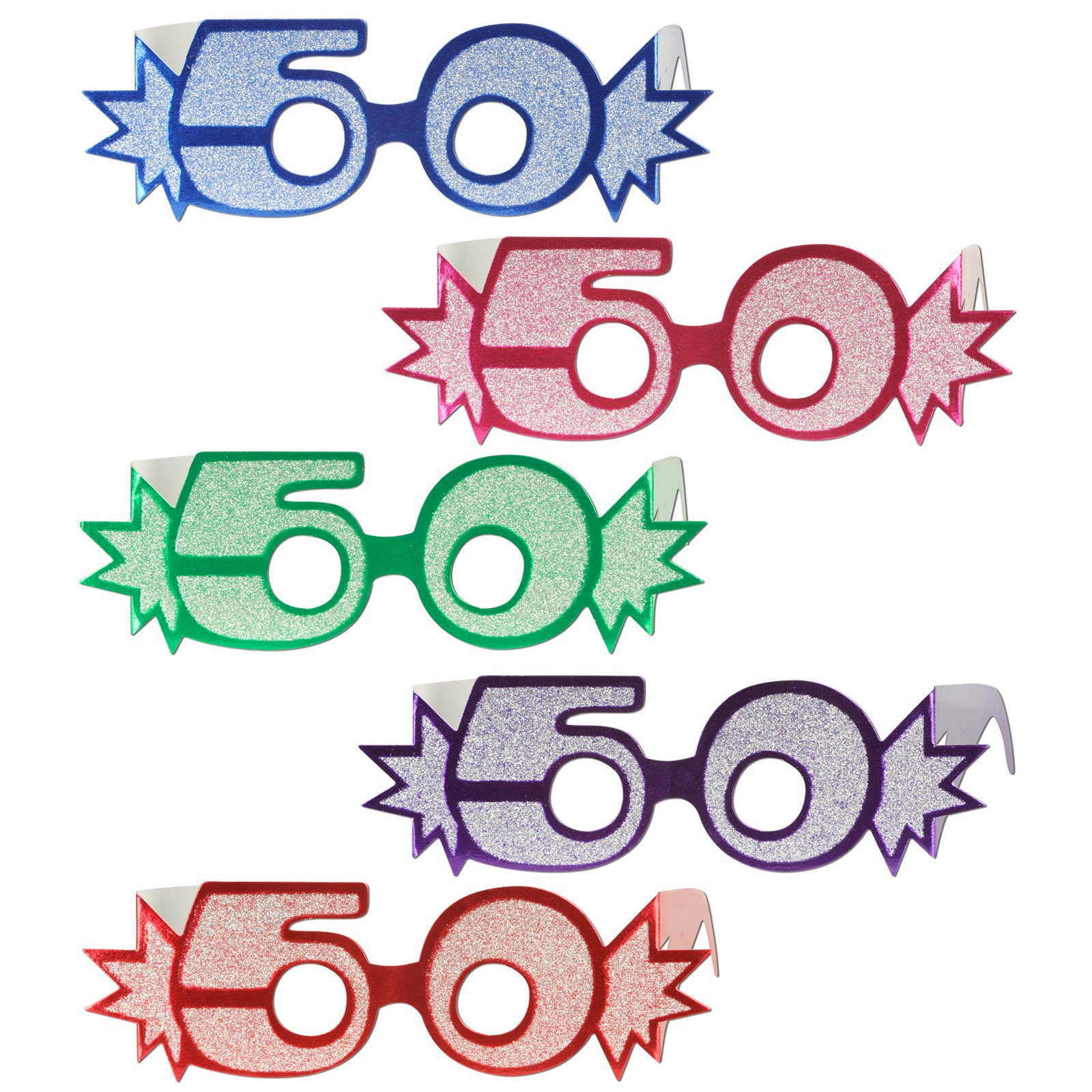 "Glittered Foil Eyeglasses ""50"" Asst. (1 count)"