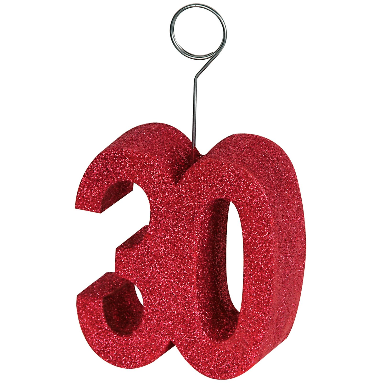 "Red Glittered ""30"" Balloon Weight / Photo Holder"