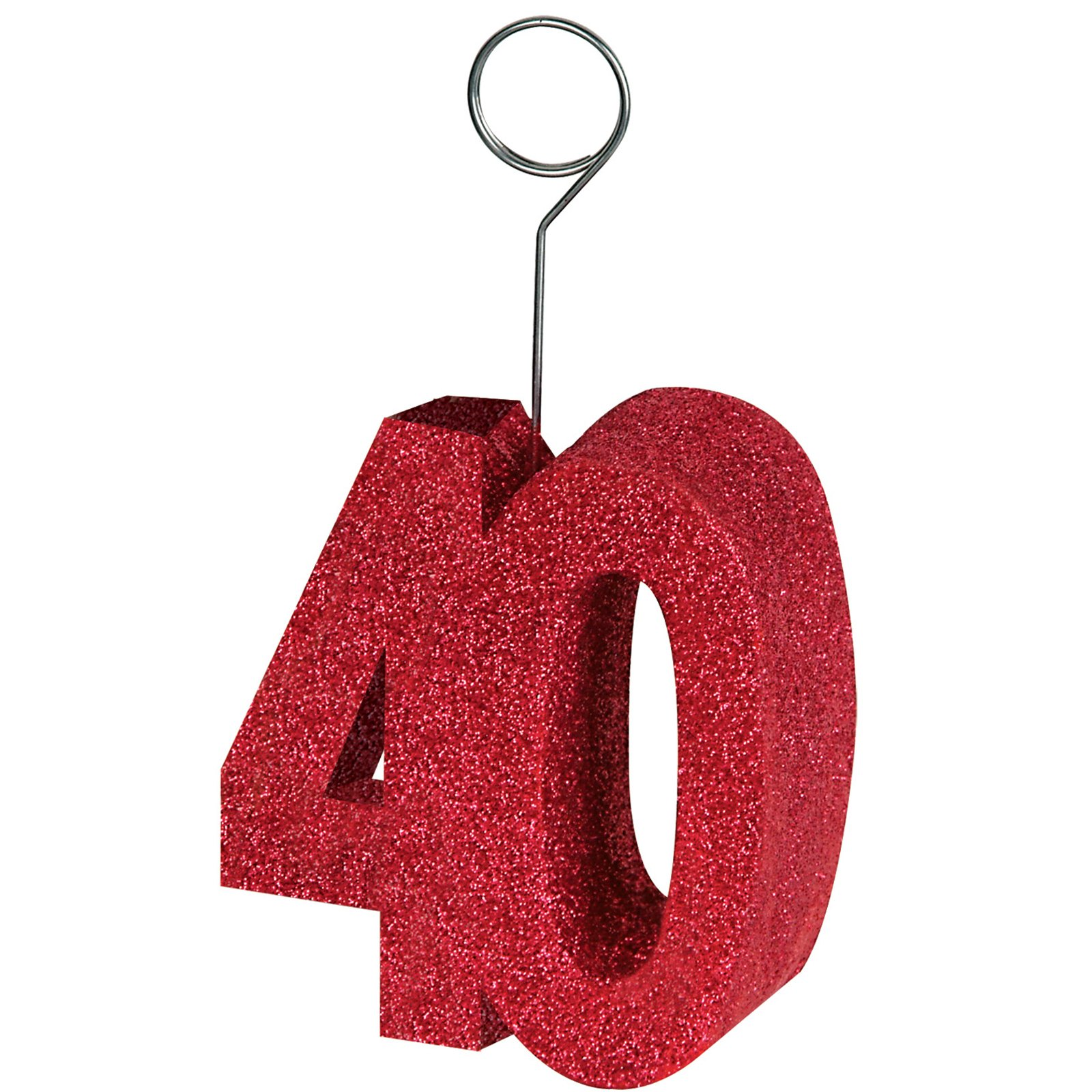 "Red Glittered ""40"" Balloon Weight / Photo Holder"