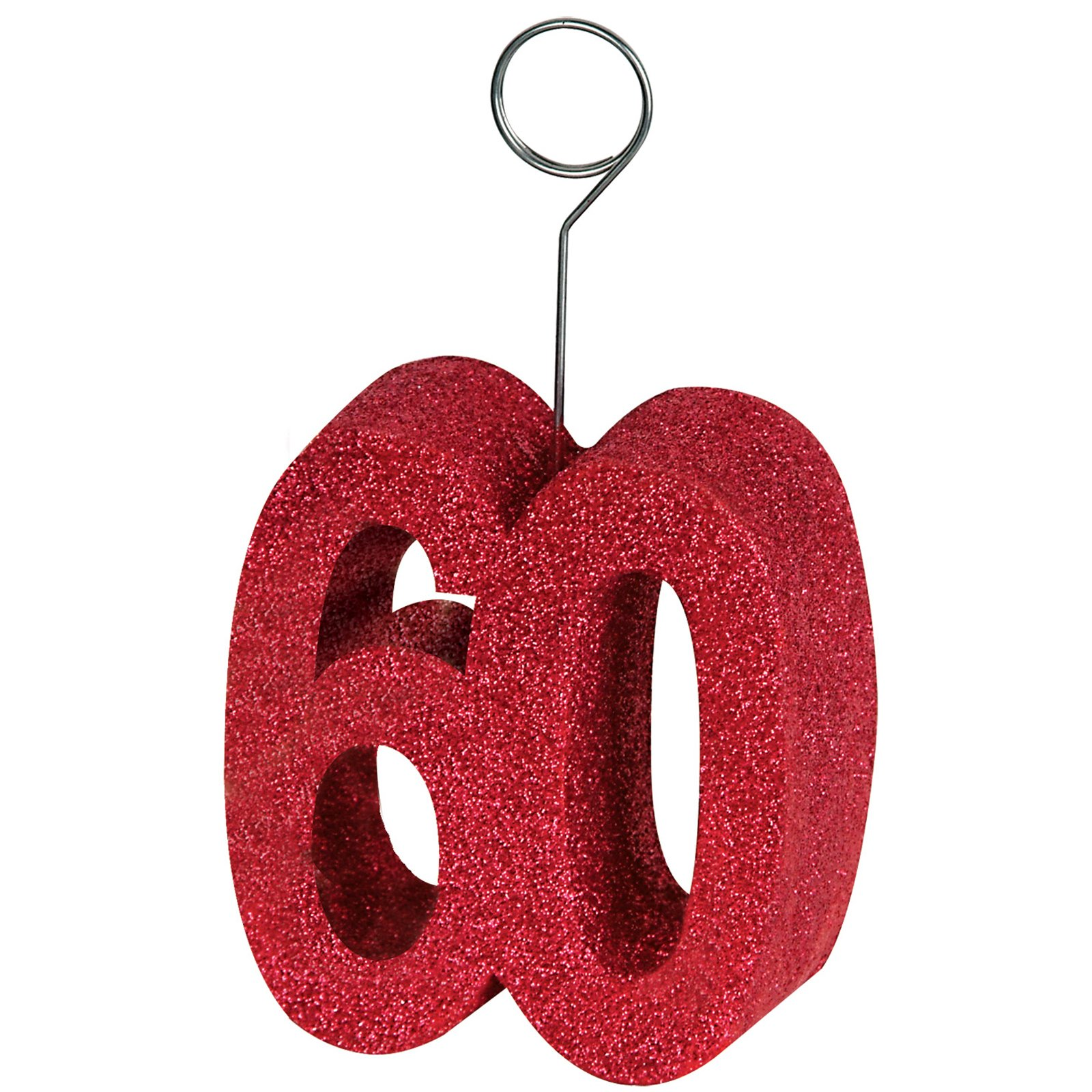 "Red Glittered ""60"" Balloon Weight / Photo Holder"