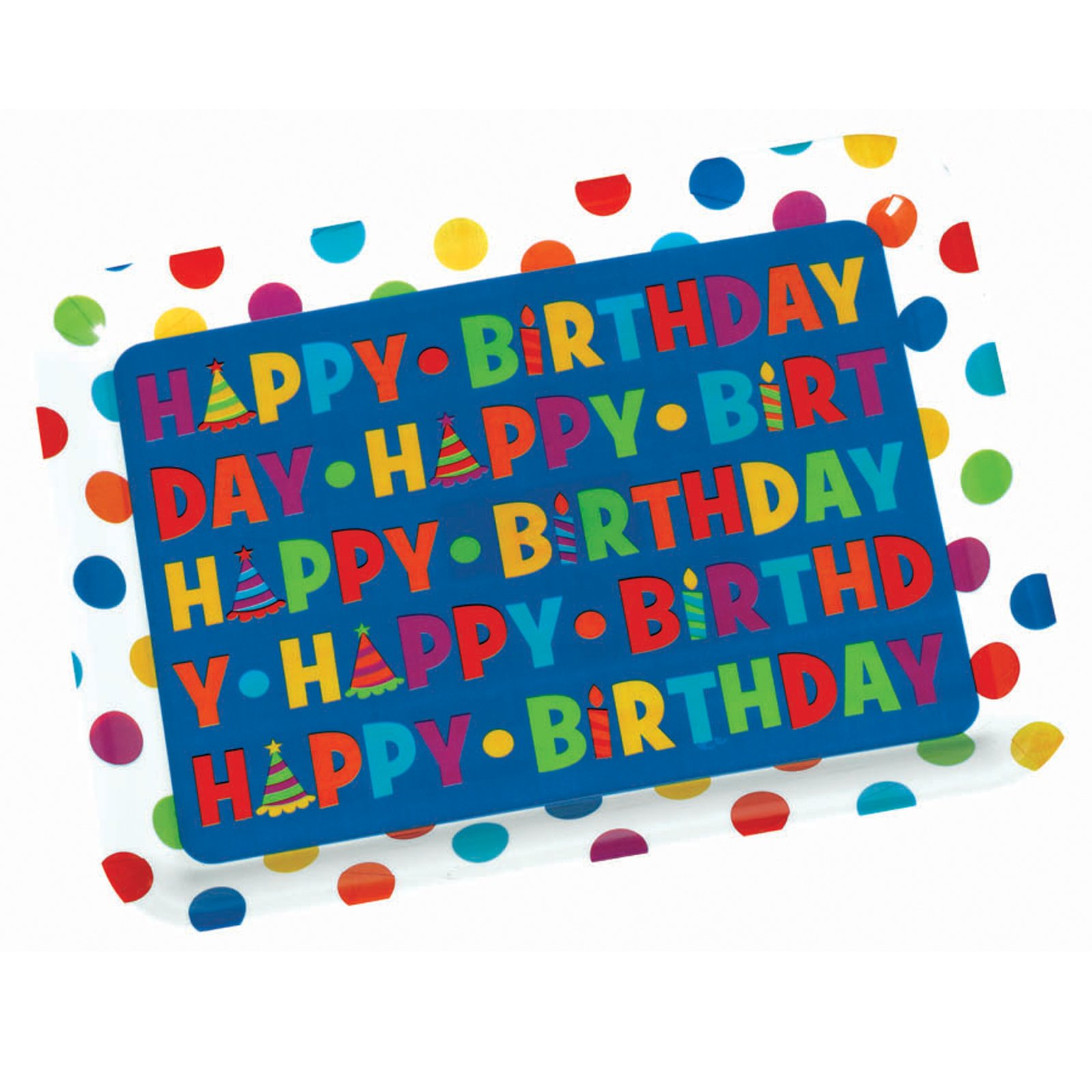 "14"" Happy Birthday Rectangular Plastic Tray"