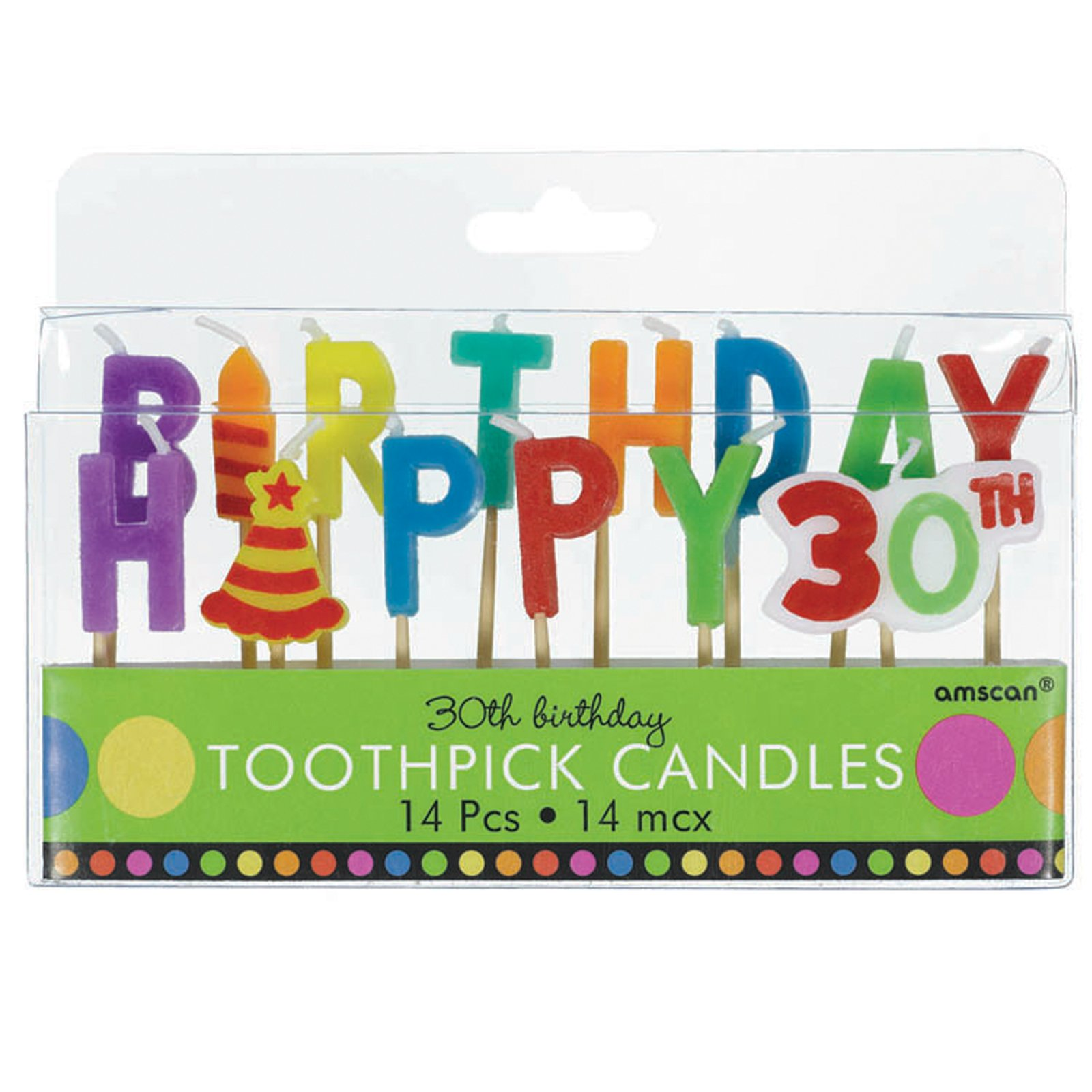 30th Birthday Toothpick Candles (14 count)