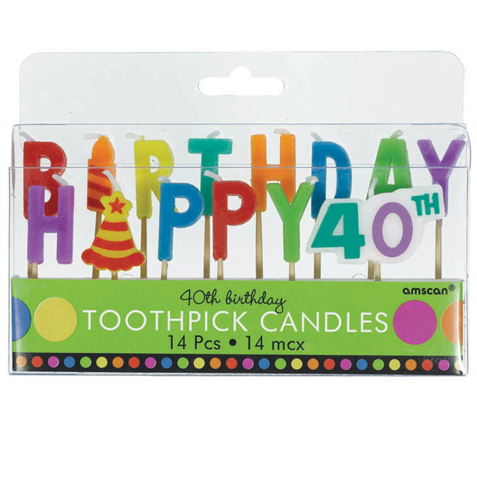 40th Birthday Toothpick Candles (14 count)