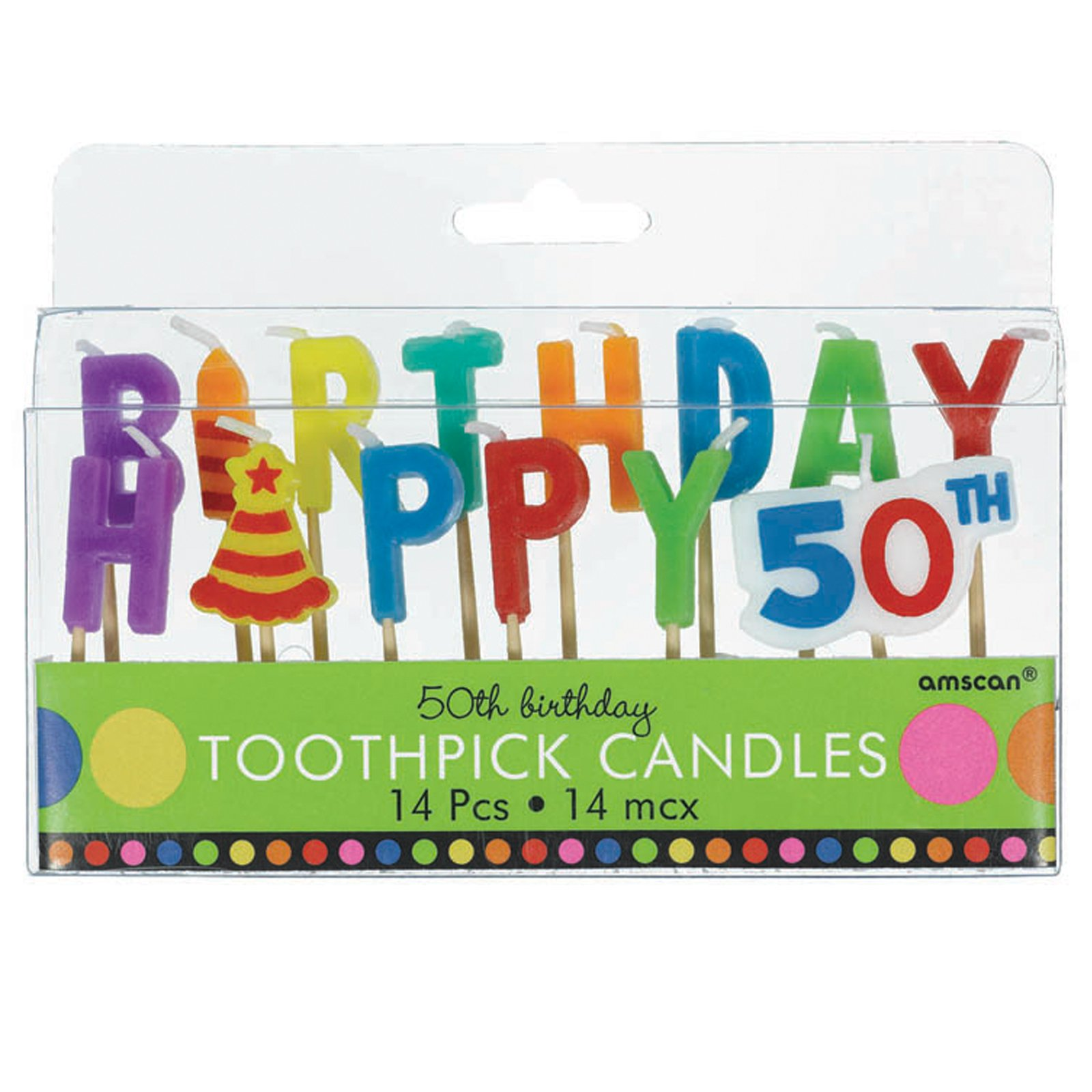 50th Birthday Toothpick Candles (14 count)